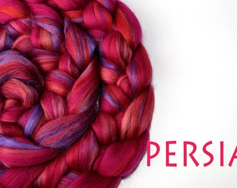 PERSIA - blended roving - Merino - Tussah silk - 100g/3.5oz - pink - purple
