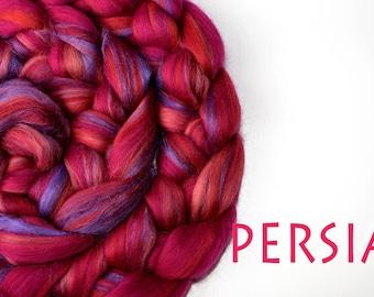 PERSIA - blended tops - Merino - Tussah silk - 100g/3.5oz - pink - purple