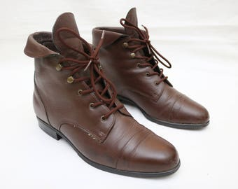 """Rare 90's Vintage """"MAINE WOODS"""" Brown Leather Ankle Boots Sz: 7M (Women's Exclusive)"""