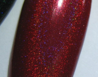 Holly Berry Red Holographic Winter Holodays Warm Holo Indie Nail Lacquer Starlight Polish