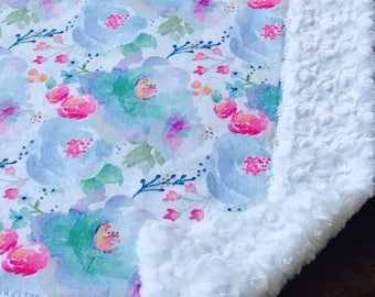 Floral Baby Blanket, Girl Baby Blanket, crib blanket, aqua, baby girl blanket,purple,minky baby blanket, baby blanket, baby shower gift