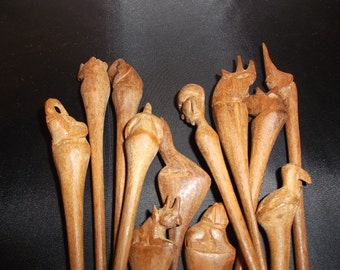 African Wood Hors D'oeuvre Skrewer