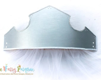 Silver Crown Canopy, Sleeping Beauty Princess Bed Crown Canopy, Baby Crown, Princess Nursery Wall Crown with Curtains, Crown Photo Prop