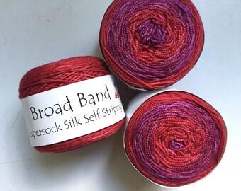 45% Off Cherry Tree Hill Broad Band Supersock Silk Self Striping Fingering Superwash Merino Yarn Wild Cherry 354 Yards