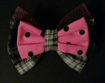 Pink, Black, and Gray Bow