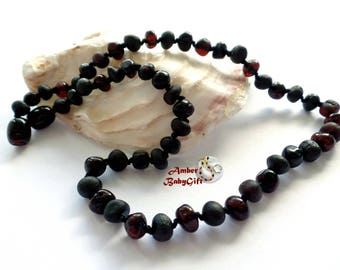 Pure Polished and Raw Baltic Amber Teething Necklace - Black and Cherry Amber Beads - Screw Clasp - Choose Your Length, K-7