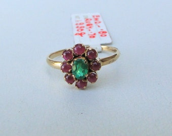 14 Carat Solid Gold Natural Ruby & Emerald Gemstone Ring