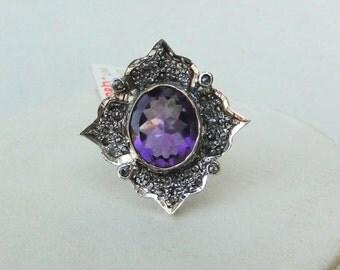 Victorian Diamond Natural Amethyst Gold Silver Ring India