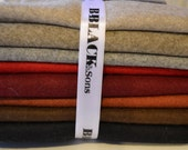 Wool Fat Quarter Bundle, 8 Fat Quarters, Light Weight Wool Melton, Folk Art Quilt Supplies, Red, Maroon, Coral, Gray, Black, Tan