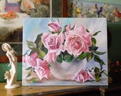 Still Life with Pink Shabby Cottage Roses in a China Bowl ~ Chic Oil Art