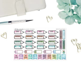 Functional Planner Stickers - Back to School Watercolor Set of 37