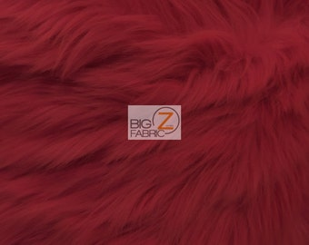 """Solid Shaggy Faux Fur Fabric - MAROON - Sold By The Yard 60"""" Width Costumes Accessories Clothing"""