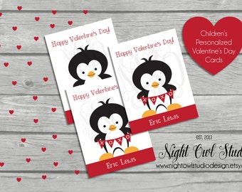 Valentine's Day Cards, Children's Valentine Cards, Personalized, Classroom Cards, Printable