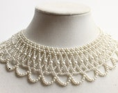Vintage White Beaded Collar Necklace, Faux Pearls, Retro Costume Jewelry, Circa 1960's