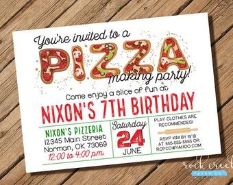 Pizza Party Invitation, Pizzeria Party, Pizza Making Invitation, Pizza Letters Invitation, Printable Birthday Party Invitation