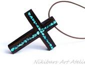 Wenge Wood Turquoise Cross Necklace - Wood Boho Cross Necklace - Abstract Cross Necklace - Man Cross Necklace - Gift For Man - Wood Cross