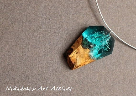 resin wood necklace epoxy resin 3d wood resin jewelry resin