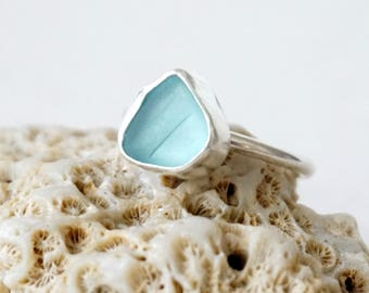 Soft Aqua Blue Sea Glass Stacking Ring, Size 8 1/2 - Genuine Sea Glass, Natural Sea Glass - Stacking Jewelry, Stacker Ring
