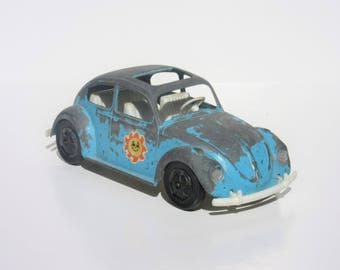 Vintage Toy Hubley Blue Volkswagen Car Beetle Bug Mighty Metal Die-cast Vehicle With Plastic Bottom and Sun Stickers Chippy Paint Home Decor