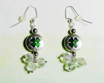 Crystal & Silver Shamrock Earrings