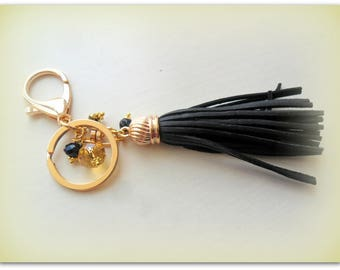 Boho Gold Black leather Style Crystal Bag Charm Key Ring Key Chain