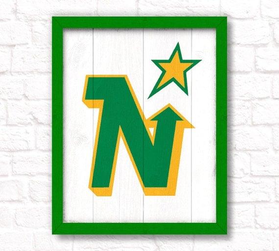 Vintage MINNESOTA NORTH STARS - rustic handmade sign - Minnesota North Stars fan wall sign - Fathers Day gift for Dad