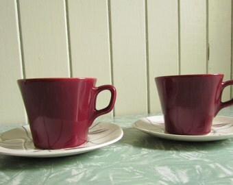Two J and G Meakin 'South Wind' Tea or Coffee Duos. Mid Century China in the Horizon Shape