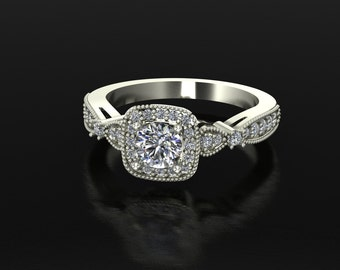 Woman's Wedding Set in 14k white gold with 1 carat Round Brilliant White Sapphire Center 0.50 ctw diamonds