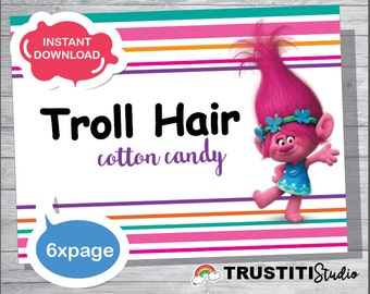 TROLLS COTTON CANDY Label, Trolls Hair, Trolls Favor labels, Valentines favors, Birthday Favors