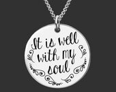 Inspirational | Christian Gifts | Faith Gifts | Gift for a Friend | It is well with my soul |  Necklace Korena Loves