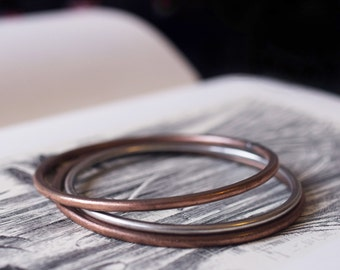solid copper sterling silver bangles bracelets set 8g 10g 3mm 2.5mm set of three