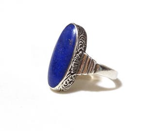 Vintage Sterling Silver Lapis Lazuli Ring Blue Stone Antique Victorian Art Deco Jewelry Etched Sides Size 5.5