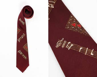 1950s Hand Painted Music Lover Skinny Tie // Rockabilly // Rock 'n' Roll