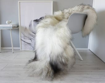 Natural Genuine GIANT XXL Rare Breed Icelandic Sheepskin Rug - Grey | Silver | White | Latte | Beige | Black Mix - Soft Long Wool - SI 223