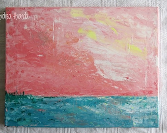 Original Fine Art Abstract contemporary Landscape Acrylic Painting Wall Art Medium 11 x 14 inches Canvas pink