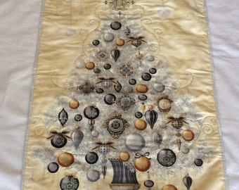 Christmas Tree Panel, Christmas Wall Decor, Quilted Christmas Tree, Silver, Gold White and Charcoal, Silver Christmas Tree