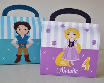 Tangled / Rapunzel inspired PERSONALIZED favor box combo for birthday party pdf DIY gable box template with Rapunzel and Prince / Flynn
