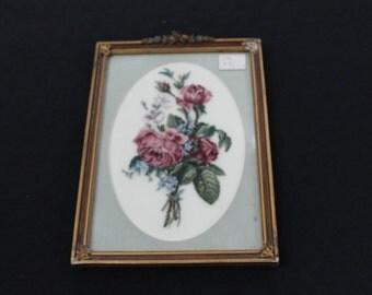 vintage roses barbola framed needlepoint needlework roses picture