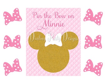 Minnie Mouse Party Game, Pin the Bow on Minnie, Pink and Gold, Glitter, Birthday Party, Minnie Pink and Gold Party, First Birthday
