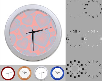 Glowing Heart Wall Clock, Abstract Love Design, Valentine's Day, Customizable Clock, Round Wall Clock, Your Choice Clock Face or Clock Dial