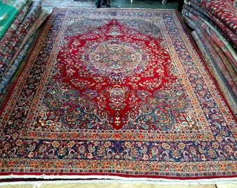 1980s Hand-Knotted, Mashad-Sabzevar Persian Rug, Room-Sized! (1290)