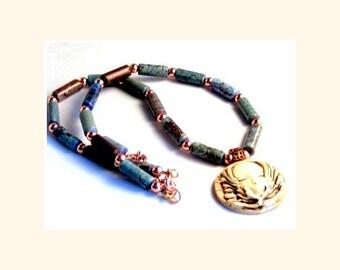 Turquoise Necklace, Godess Necklace, Pendant Necklace, Bohemian Jewelry,Boho Jewelry