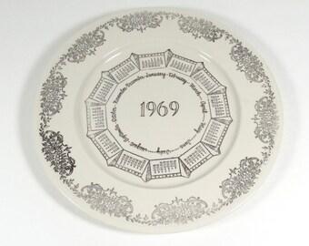 1969 Calendar Plate - Vintage Dinner Plate