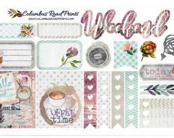"""Planner sticker sheet """"Coffee Time"""" Planner Stickers, fits Erin Condren Vertical Life Planner, fits ECLP, Stickers, Romantic Coffee"""