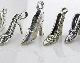 Shoe charm assortment, antique Tibetan silver, lead free, 8 pieces