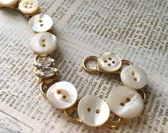Vintage Shell and Rhinestone Button Bracelet -  Upcycled Buttons Rhinestones MOP