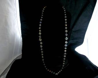 Vintage Long Crystal Necklace, Shimmers and Glistens. Perfect Show Stopper for special occassion.