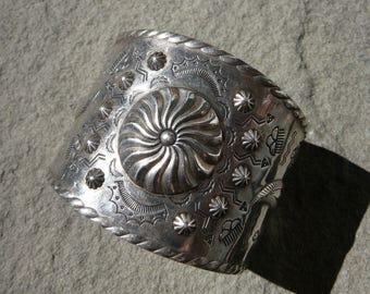 Reserve Listing for Nancy: Fred Harvey Bracelet, Native American Jewelry, Navajo Cuff Silver Bracelet Repousse, Fred Harvey