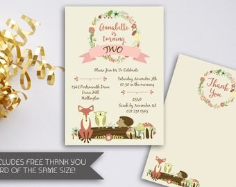 Woodlands Birthday Invitation | Printable Woodlands Invitation l Forest Animals | Woodland Birthday Party | Floral Wreath | Fox (086)
