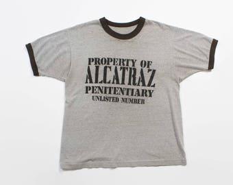 Vintage 80s ALCATRAZ TSHIRT / 1980s Heather Gray & Black Prison Tee Shirt XL
